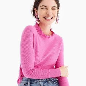 J Crew Ruffle neck pink pullover sweater